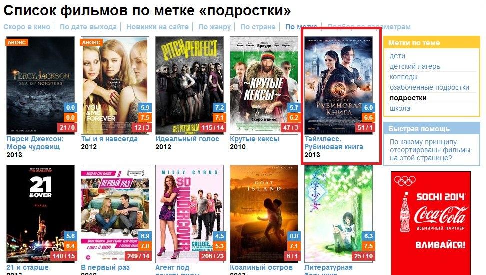 смотреть список фильмов: